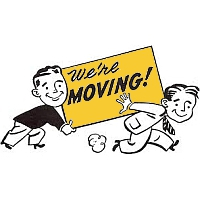 two men with a we're moving sign